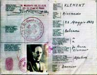 Eichmann passport in the name of Klement used to enter Argentina, now in the Holocaust Museum in Buenos Aires.