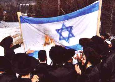 Orthodox Jews burn the Israeli flag in protest against the State of Israel's Zionist policies.